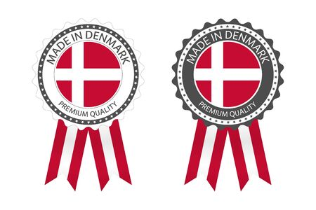 Two modern vector Made in Denmark labels isolated on white