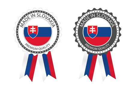 Two modern vector Made in Slovakia labels isolated on white
