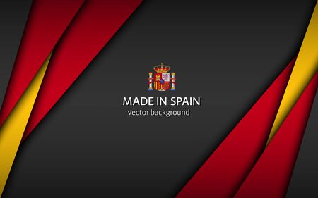 Made in Spain, modern vector background with Spanish colors, overlayed sheets of paper in Spanish colors, abstract widescreen background