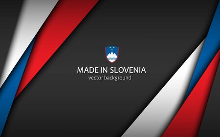 Made in Slovenia, modern vector background with Slovenian colors, overlayed sheets of paper in the colors of the Slovenian tricolor, abstract widescreen background