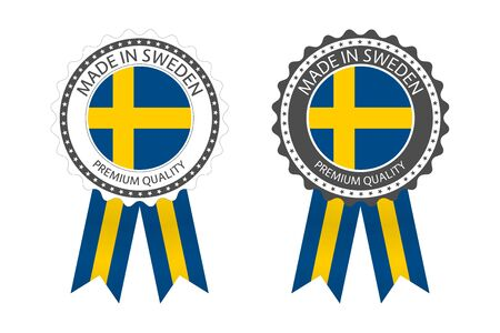 Two modern vector Made in Sweden labels isolated on white
