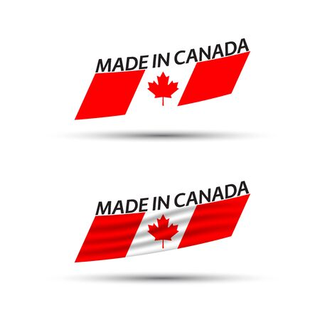 Two modern colored vector Canadian flags isolated on white 向量圖像