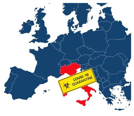 Simple illustration of italy map with coronavirus quarantine warning sign