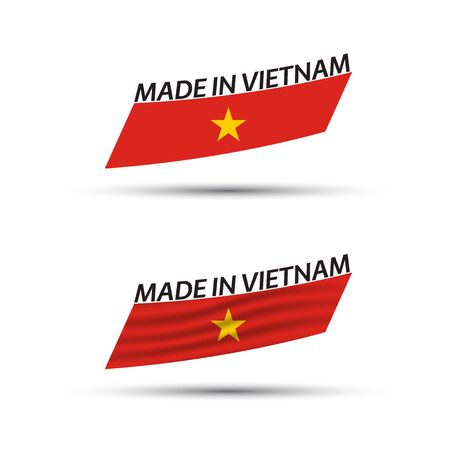 Two modern colored vector Vietnamese flags isolated on white background, Vietnamese flags, Vietnamese ribbon, Made in Vietnam  イラスト・ベクター素材