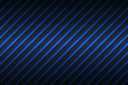 Dark blue abstract metallic background with slanting lines, blue striped pattern, parallel lines and strips, diagonal carbon fiber, vector illustration