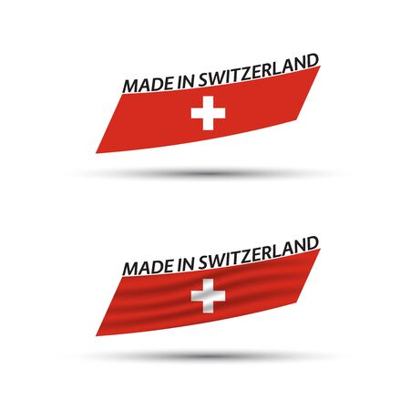 Two modern colored vector Swiss flags isolated on white