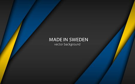 Made in Sweden, modern vector background with Swedish colors, overlayed sheets of paper in Swedish colors, abstract widescreen background