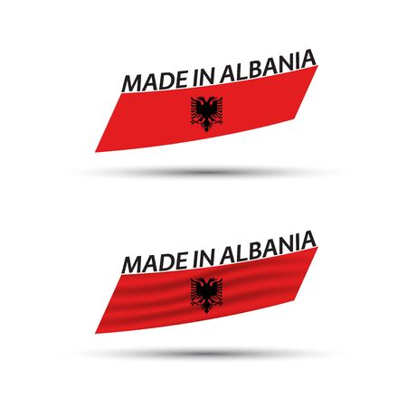 Two modern colored vector Albanian flags isolated on white