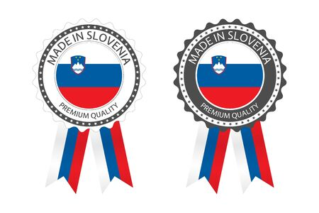 Two modern vector Made in Slovenia labels isolated on white
