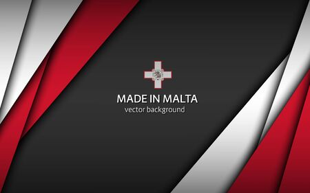 Made in Malta, modern vector background with Maltese colors, overlayed sheets of paper in Maltese colors, abstract widescreen background