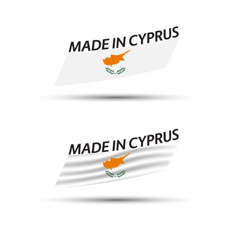 Two modern colored vector Cyprus flags isolated on white background, flags of Cyprus, Cypriot ribbons, Made in Cyprus 向量圖像