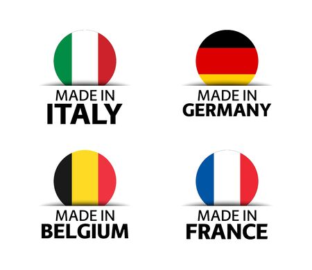 Set of four Italian, German, Belgian and French stickers. Made in Italy, Made in France, Made in Germany and Made in Belgium. Simple icons with flags isolated on a white background