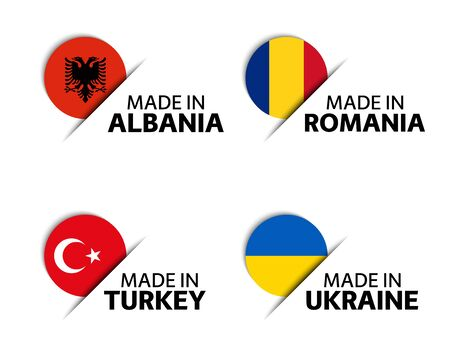 Set of four Albanian, Romanian, Turkish and Ukrainian stickers. Made in Albania, Made in Romania, Made in Turkey and Made in Ukraine. Simple icons with flags isolated on a white background