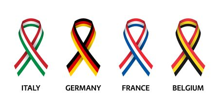Set of four Italian, German, Belgian and French stripe ribbons. Pray for Italy, France, Germany and Belgium. Independence day. Simple icons with flags isolated on a white background