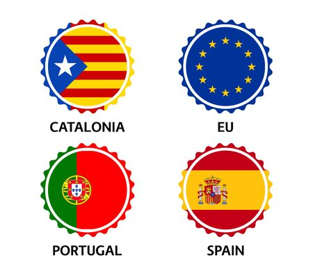 Set of four Catalonia, European Union, Portuguese and Spanish stickers. Made in Catalonia, Made in European Union, Made in Portugal and Made in Spain. Simple icons with flags isolated on a white background Illustration