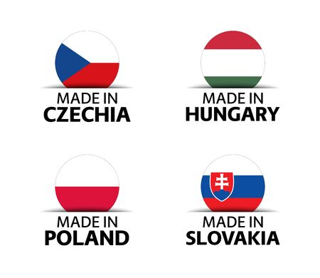 Set of four Czech, Hungarian, Polish and Slovak stickers. Made in Czech Republic, Made in Hungary, Made in Poland and Made in Slovakia. Simple icons with flags isolated on a white background Ilustrace
