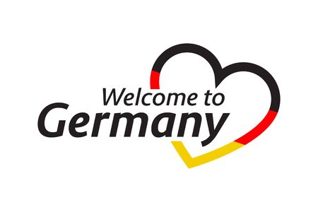 Simple vector symbol Welcome to Germany with heart in the colors of the German tricolor. Modern German icon isolated on white background Vector Illustration