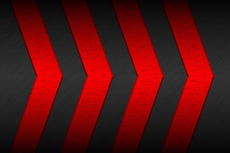 Black material background with red arrows and metallic pattern. Modern template for your business and projects. Vector abstract widescreen background Ilustração