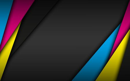Black modern material background with overlapped layers in cmyk colors. Template for your business. Vector abstract widescreen background Ilustração