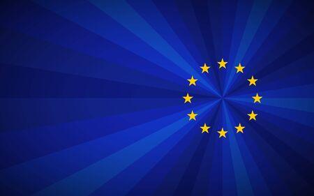 SImple blue vector European union background with EU yellow stars Ilustração Vetorial