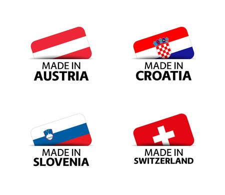 Set of four Austrian, Croatian, Slovenian and Swiss stickers. Made in Austria, Made in Croatia, Made in Slovenia and Made in Switzerland. Simple icons with flags isolated on a white background 일러스트