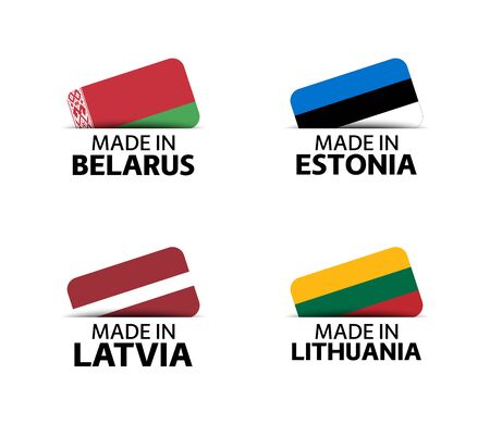 Set of four Belarussian, Estonian, Latvian and Lithuanian stickers. Made in Belarus, Made in Estonia, Made in Latvia and Made in Lithuania. Simple icons with flags isolated on a white background