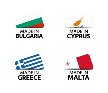 Set of four Bulgarian, Cyprus, Greek and Malta stickers. Made in Bulgary, Made in Cyprus, Made in Greece and Made in Malta. Simple icons with flags isolated on a white background