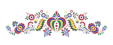 Traditional folk ornament. Czech ornament from region Podluzi. Floral embroidery decorative symbol isolated on white background. Vector illustration