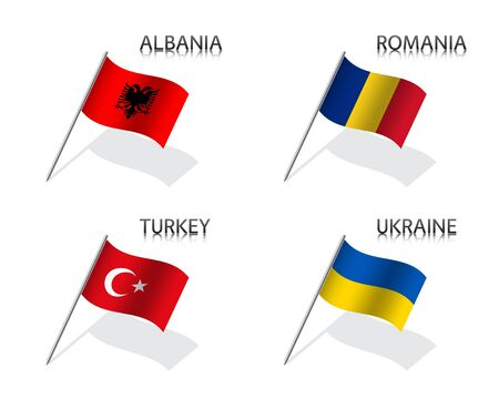 Set of four waving flag of Albania, Romania, Turkey and Ukraine. Simple symbols with flags isolated on a white background