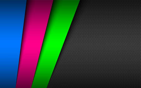 Dark modern material background with overlapped papers in neon colors and hexagonal mesh pattern. Template for your business. Vector abstract widescreen background