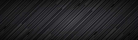 Dark abstract black and grey striped header. Diagonal lines and strips pattern. Metal fiber banner. Simple vector illustration