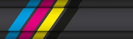 Black modern material header with overlapped layers with cmyk colors. Banner for your business. Vector abstract widescreen background 向量圖像