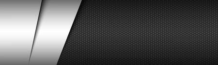 Black and white modern material header with hexagonal pattern. Corporate template for your business. vector abstract widescreen banner