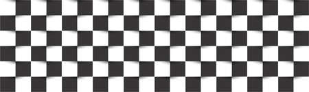 Black and white checkered header. Simple chessboard abstract vector square texture