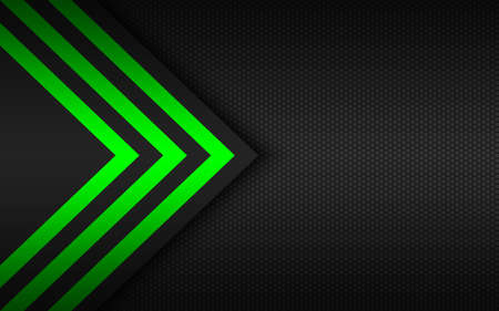 Modern technology background with green arrows and polygonal grid. Abstract widescreen background
