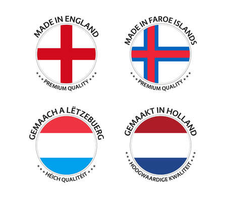 Set of four English, Faroe Islands, Luxembourgish and Dutch stickers. Made in England, Made in Faroe Islands, Made in Luxembourg and Made in Netherlands. Simple icons with flags isolated on a white background