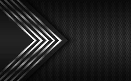 Modern technology background with silver arrows and polygonal grid. Abstract metal widescreen background