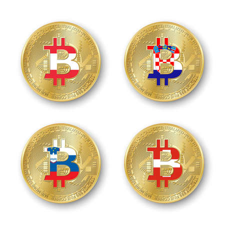 Four golden Bitcoin coins with flags of Austria, Croatia, Slovenia and Switzerland. Vector cryptocurrency icons isolated on white background. Blockchain technology symbol