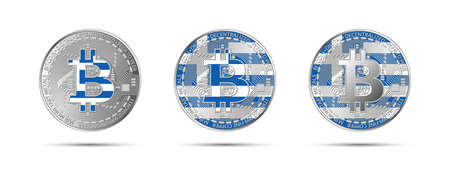 Three Bitcoin crypto coins with the flag of Greece. Money of the future. Modern cryptocurrency vector illustration