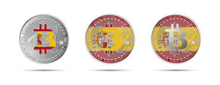 Three Bitcoin crypto coins with the flag of Spain. Money of the future. Modern cryptocurrency vector illustration