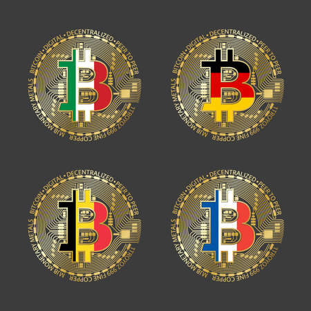 Four golden Bitcoin icons with flags of Italy, Germany, Belgium and France. Vector cryptocurrency icons isolated on grey background. Blockchain technology symbol
