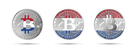 Three Bitcoin crypto coins with the flag of Holland. Money of the future. Modern cryptocurrency vector illustration