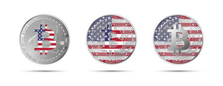 Three Bitcoin crypto coins with the flag of USA. Money of the future. Modern cryptocurrency vector illustration