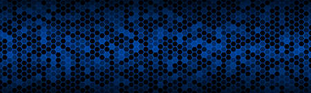 Dark blue widescreen banner with hexagons with different transparencies. Modern geometric design header. Simple vector illustration background Vektorové ilustrace