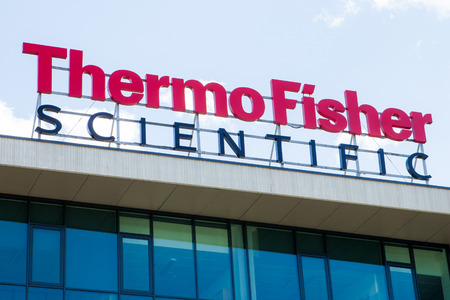 Consumables: Vilnius, Lithuania - August 6 2015: the logo of the brand Thermo Fisher Scientific Inc. NYSE: TMO the world leader in serving science, with revenues of 17 billion and approximately 50,000 employees