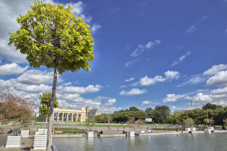gorky: Gorky Park in Moscow. View of the main gate. Stock Photo