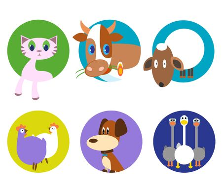 Cute animals vector pattern set, illustrations on colored background. funny pet animals icons