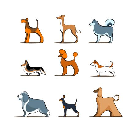 Different dog breeds on white isolated background, cartoon dogs vector pet characters different doggy illustration. Furry human friends home animals Ilustrace