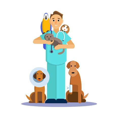 Illustration of male veterinarian with cute pet, dog, cat, Guinea pig and parrot. Illustration