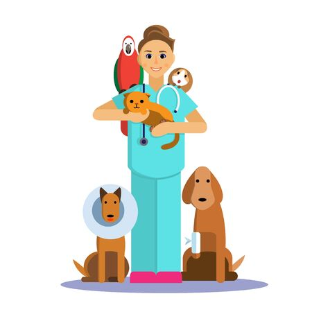 Illustration of female veterinarian with cute pet, dog, cat, Guinea pig and parrot. Illustration